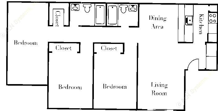 1,120 sq. ft. floor plan