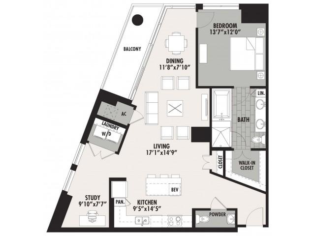 1,175 sq. ft. A14 floor plan