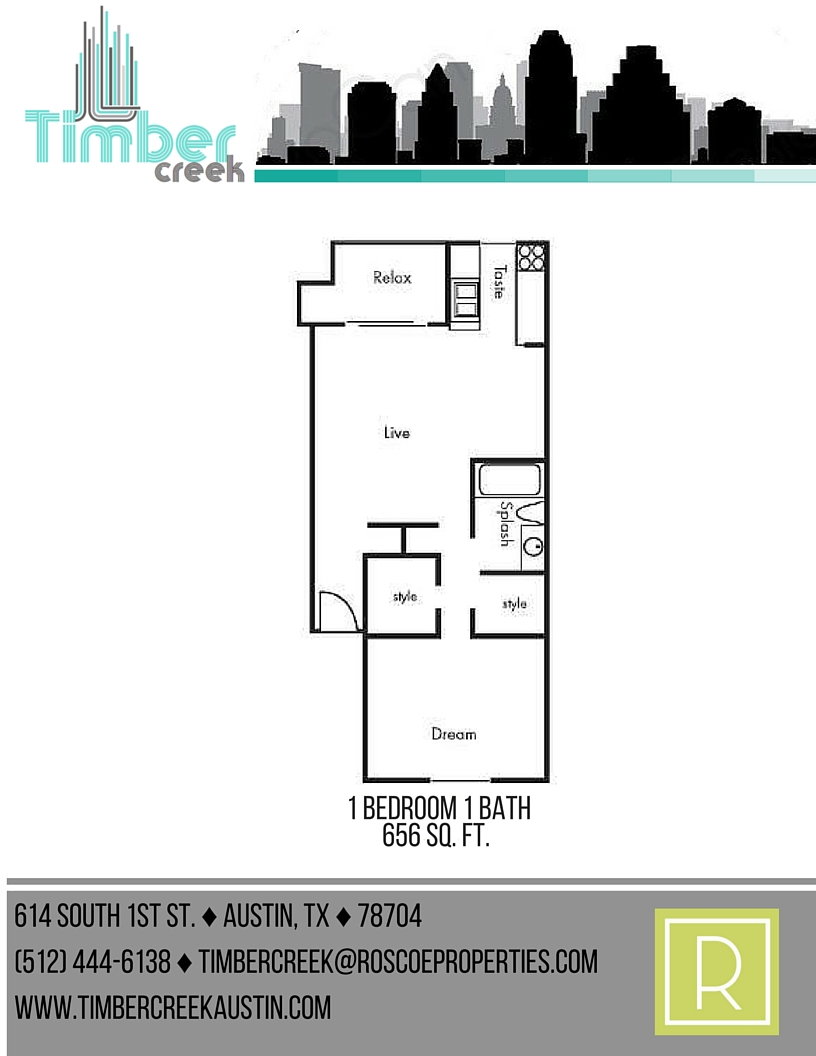 656 sq. ft. A5 floor plan