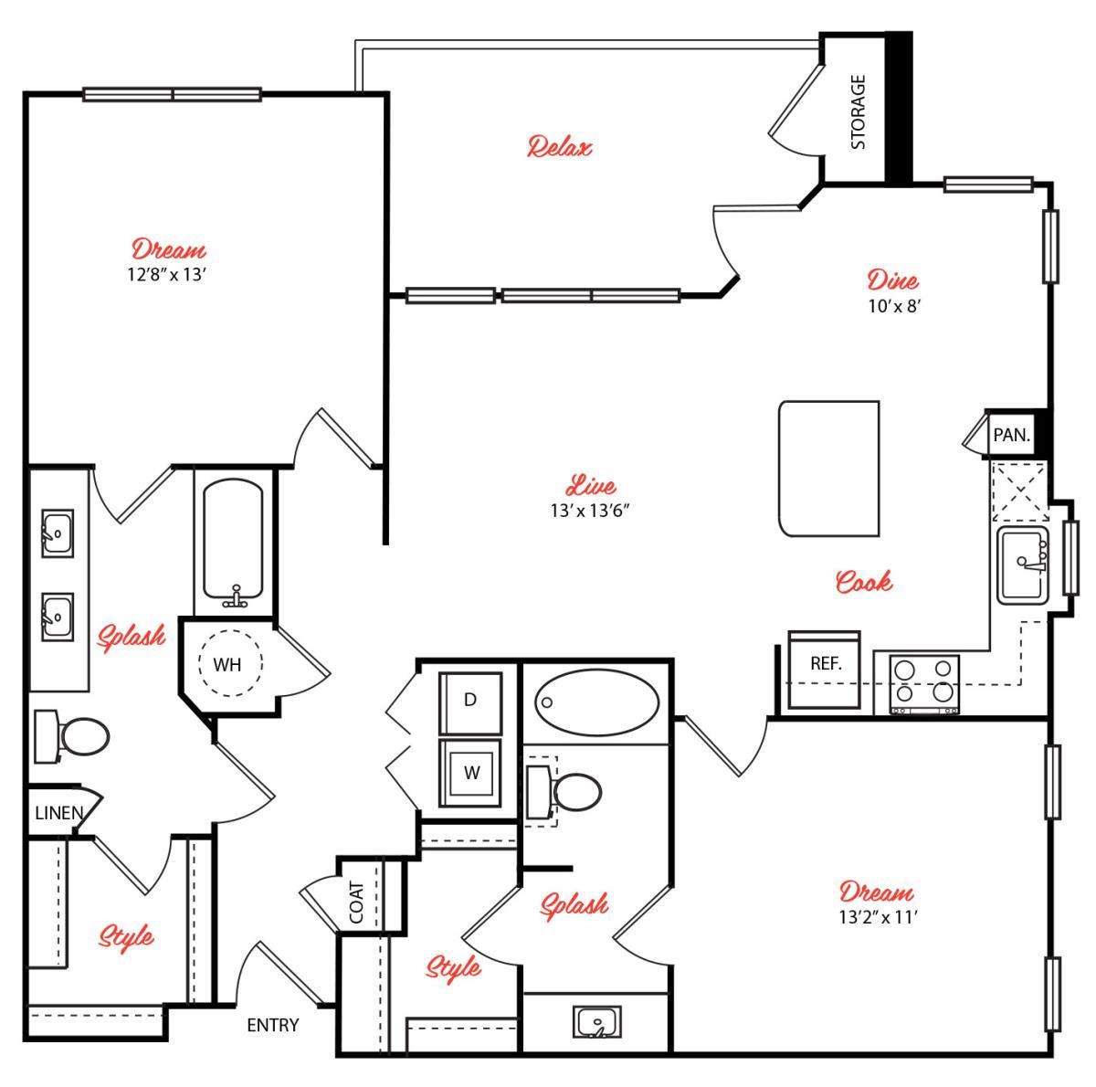 1,134 sq. ft. B2.1 floor plan