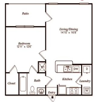 691 sq. ft. A11G floor plan