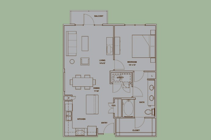 871 sq. ft. A5 floor plan