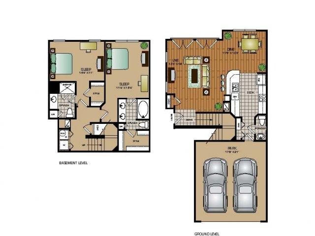 1,410 sq. ft. TH5 floor plan