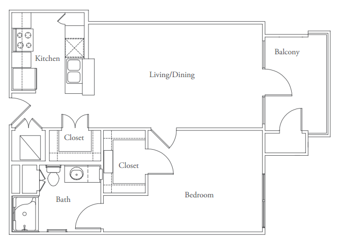 697 sq. ft. Lamar floor plan