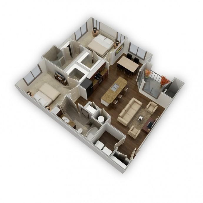 1,094 sq. ft. Unity floor plan