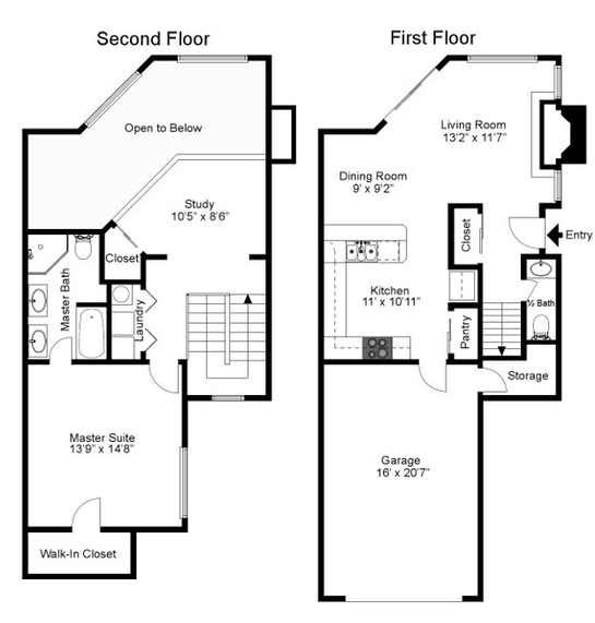 1,144 sq. ft. Augusta floor plan