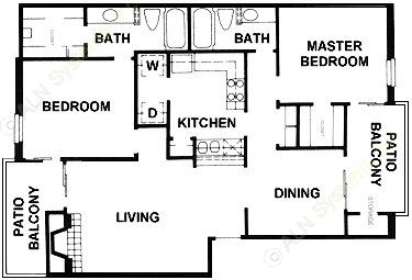 1,097 sq. ft. B11 floor plan