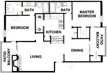 1,097 sq. ft. B11 floor plan