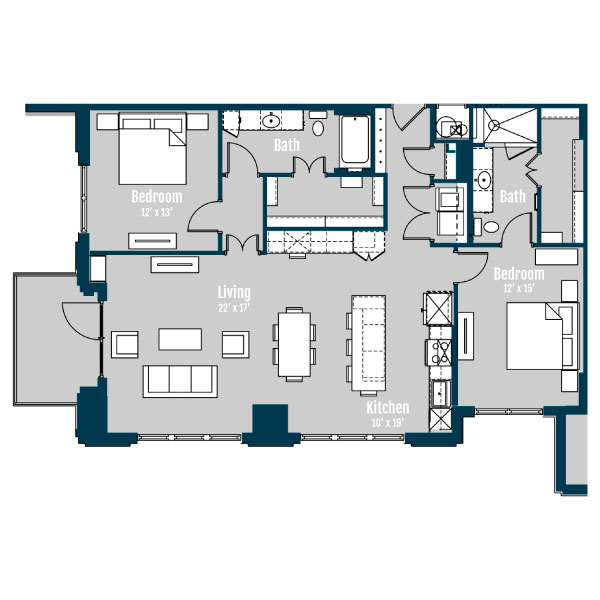 1,496 sq. ft. B6 floor plan