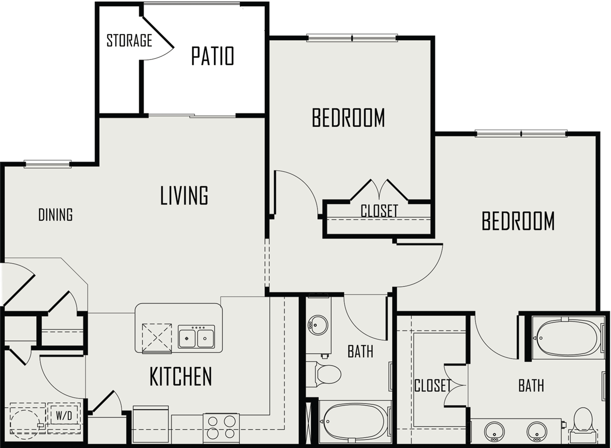 975 sq. ft. Pedernales floor plan