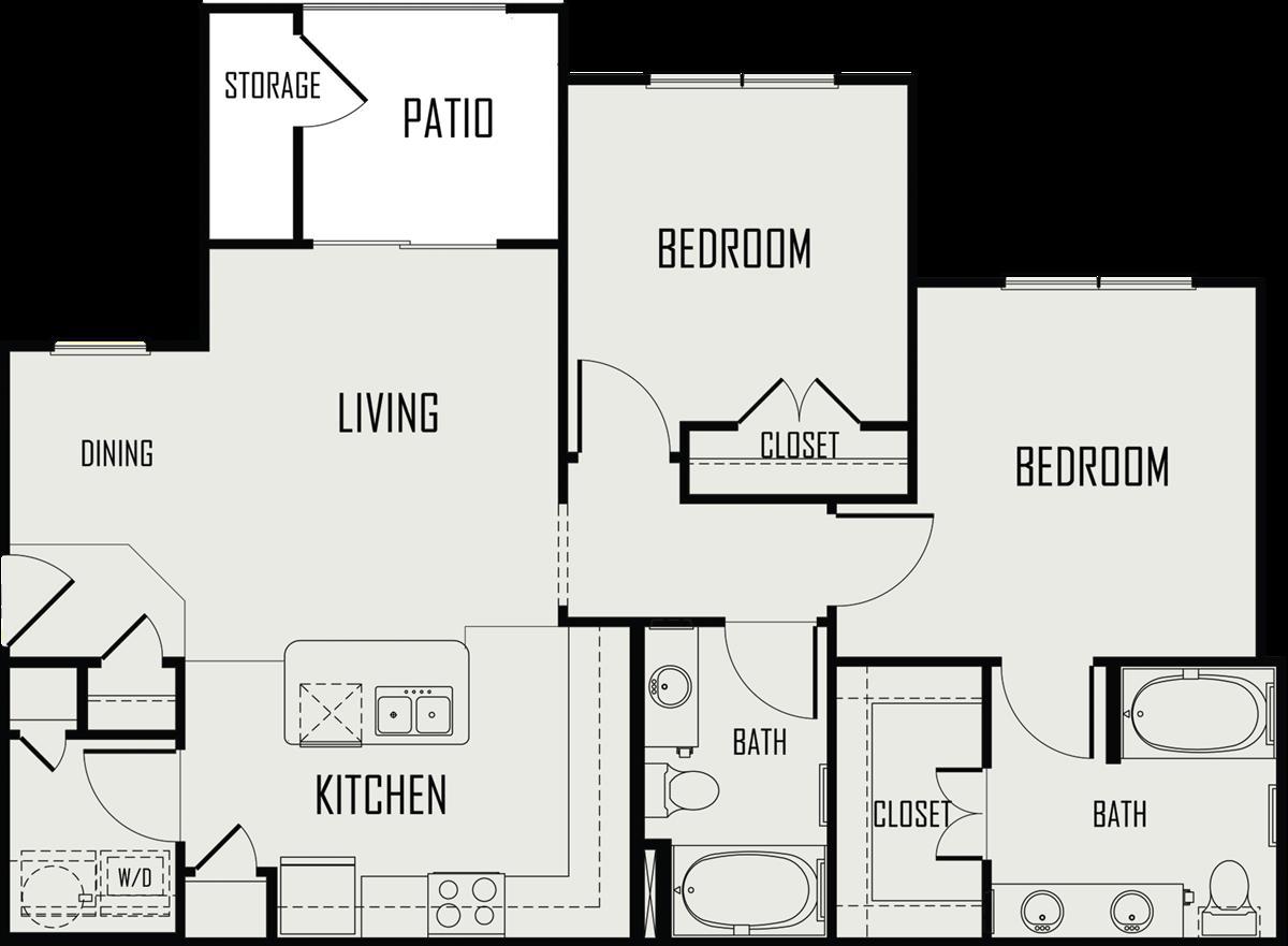 975 sq. ft. Pedernales floor plan