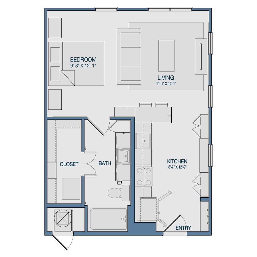 596 sq. ft. S2 floor plan