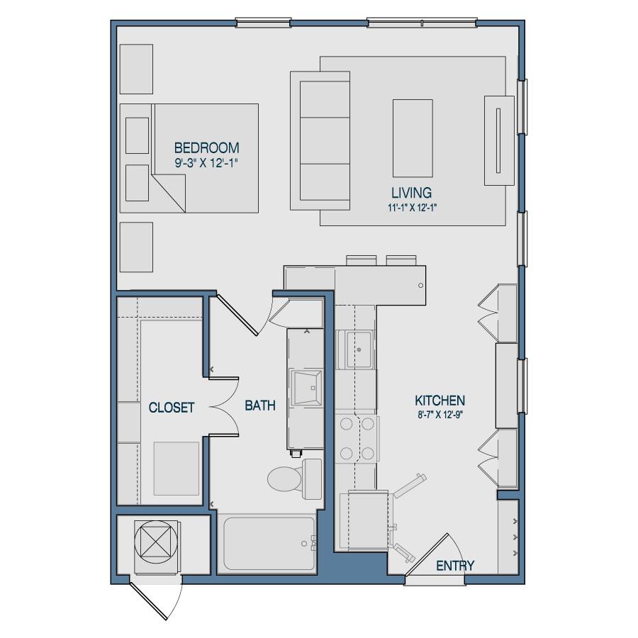 596 sq. ft. S2 floor plan