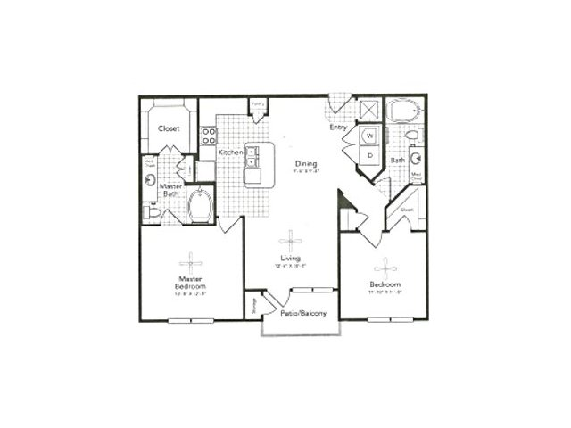 1,091 sq. ft. B1 West floor plan