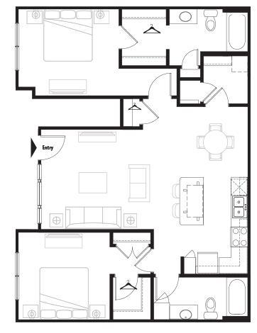 1,302 sq. ft. Grand Courtyard Down floor plan