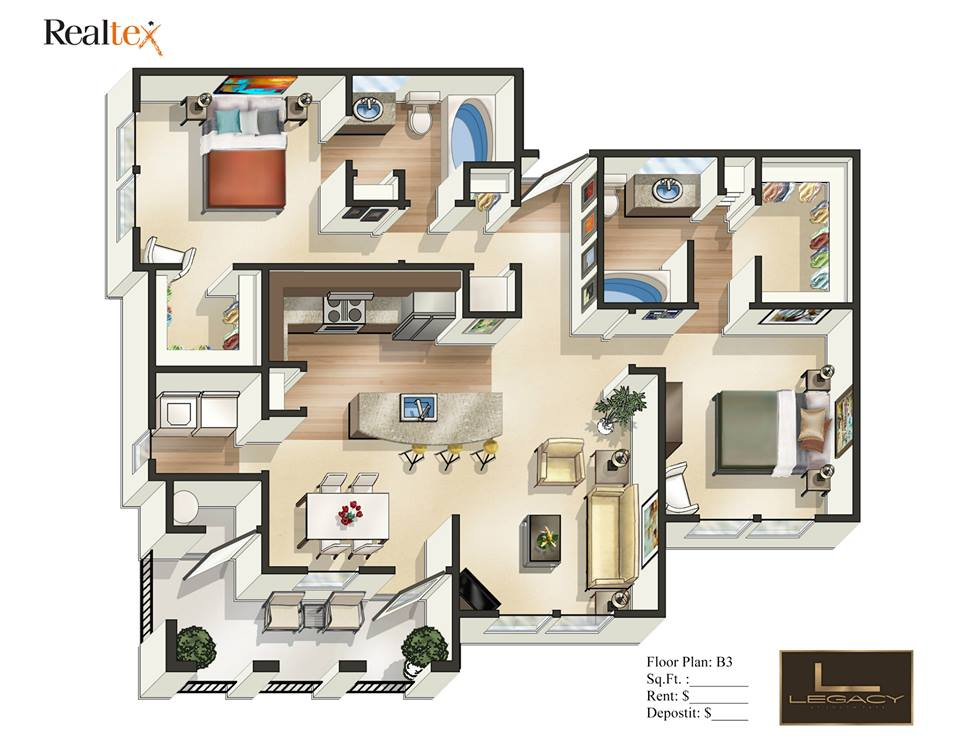 1,151 sq. ft. B3 floor plan