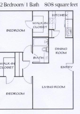 808 sq. ft. D floor plan