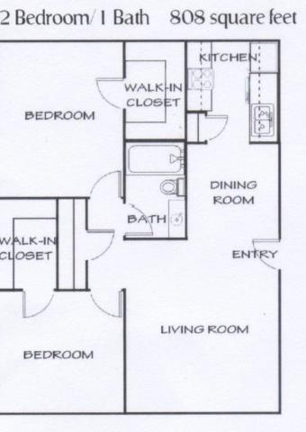 808 sq. ft. D floor plan