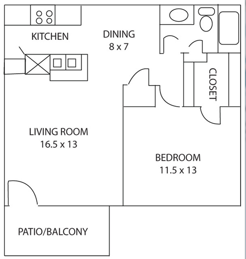 634 sq. ft. Amaryllis floor plan