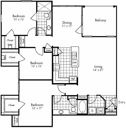 1,654 sq. ft. Memorial floor plan