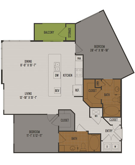 1,245 sq. ft. C3-Alt floor plan