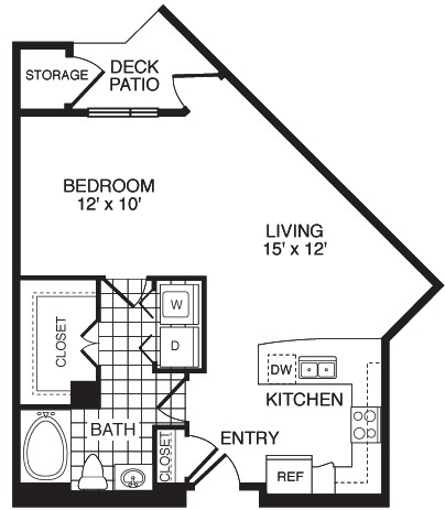 683 sq. ft. Spirit/Flat floor plan
