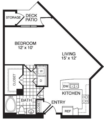683 sq. ft. F1D floor plan