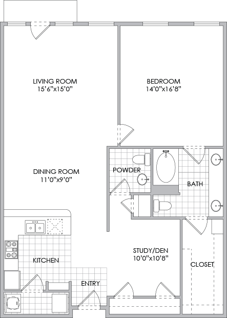 1,214 sq. ft. A11/A12 floor plan