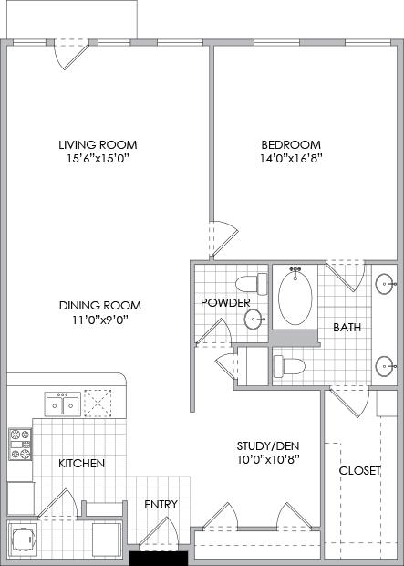 1,214 sq. ft. A11 floor plan