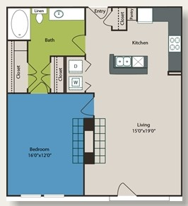 934 sq. ft. A6 floor plan