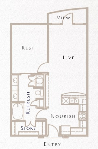 678 sq. ft. to 701 sq. ft. A5 floor plan