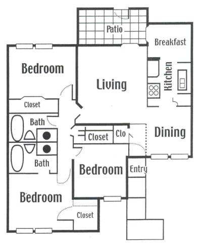 1,208 sq. ft. floor plan