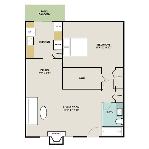 786 sq. ft. A6 floor plan