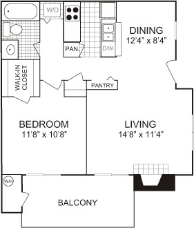 627 sq. ft. floor plan