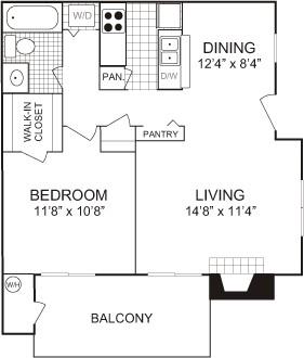 627 sq. ft. floor plan