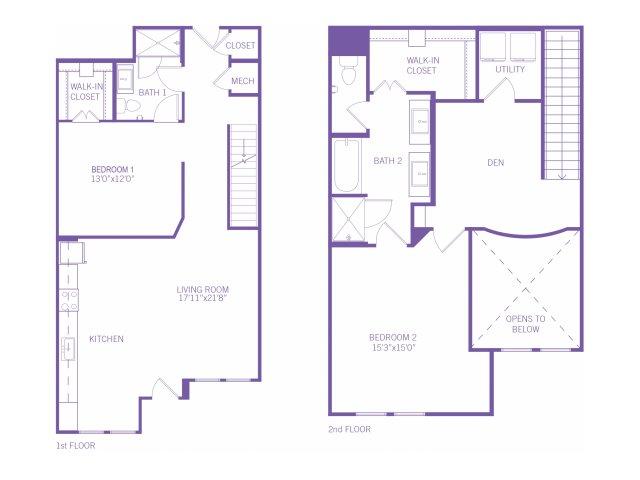 1,623 sq. ft. TH floor plan
