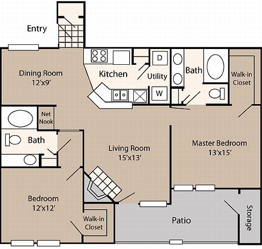 1,157 sq. ft. to 1,170 sq. ft. B3 floor plan