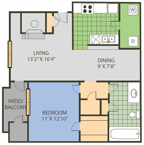 797 sq. ft. Raquet floor plan
