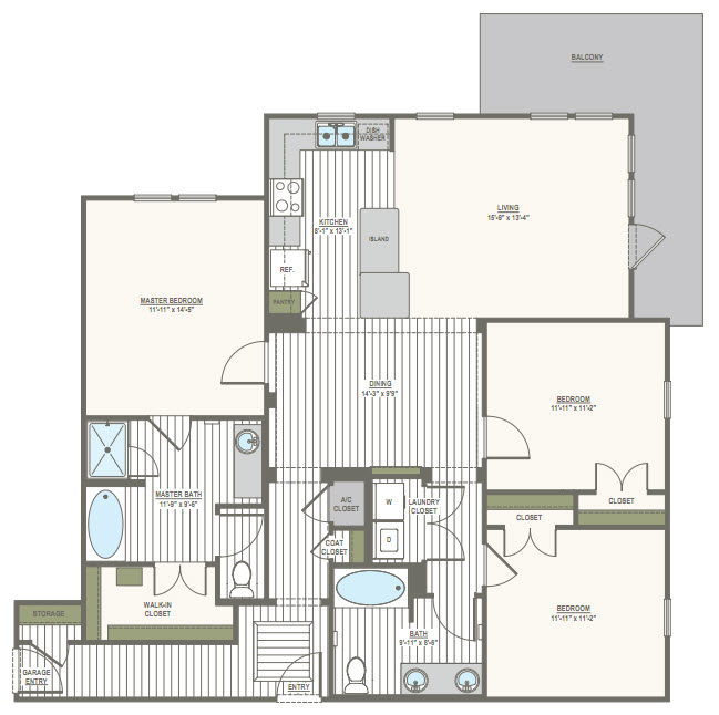 1,489 sq. ft. C1.B1 floor plan