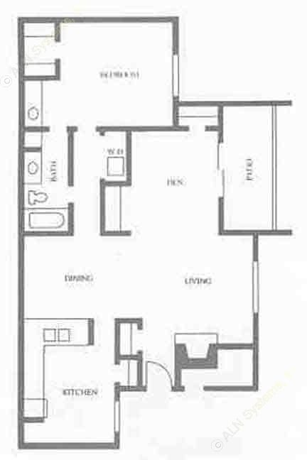 1,013 sq. ft. floor plan