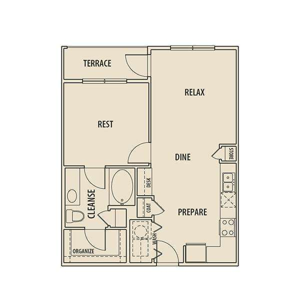 716 sq. ft. A1T P floor plan