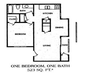 523 sq. ft. 1BB floor plan