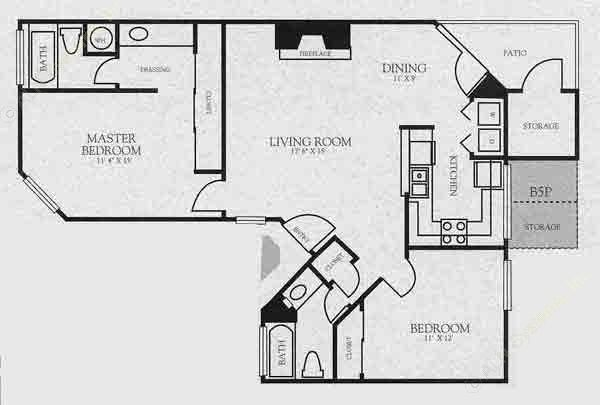 1,005 sq. ft. B5 floor plan