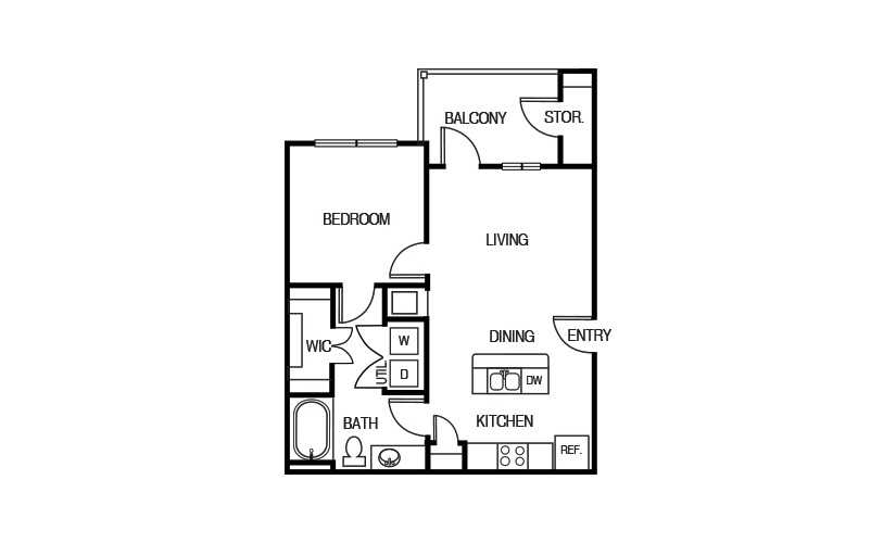 625 sq. ft. A1HC floor plan