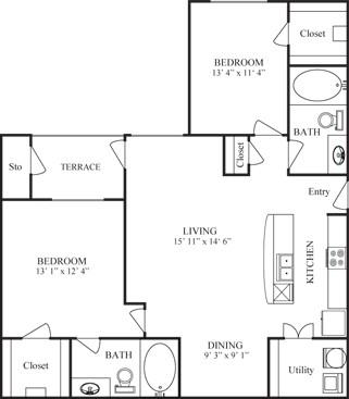 1,070 sq. ft. LA SALLE floor plan