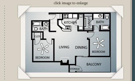 1,004 sq. ft. B1 floor plan