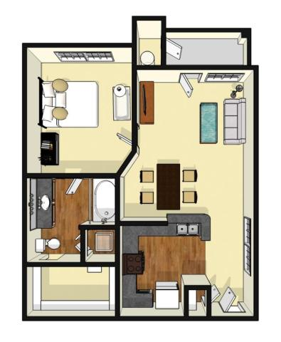 675 sq. ft. Avalon floor plan