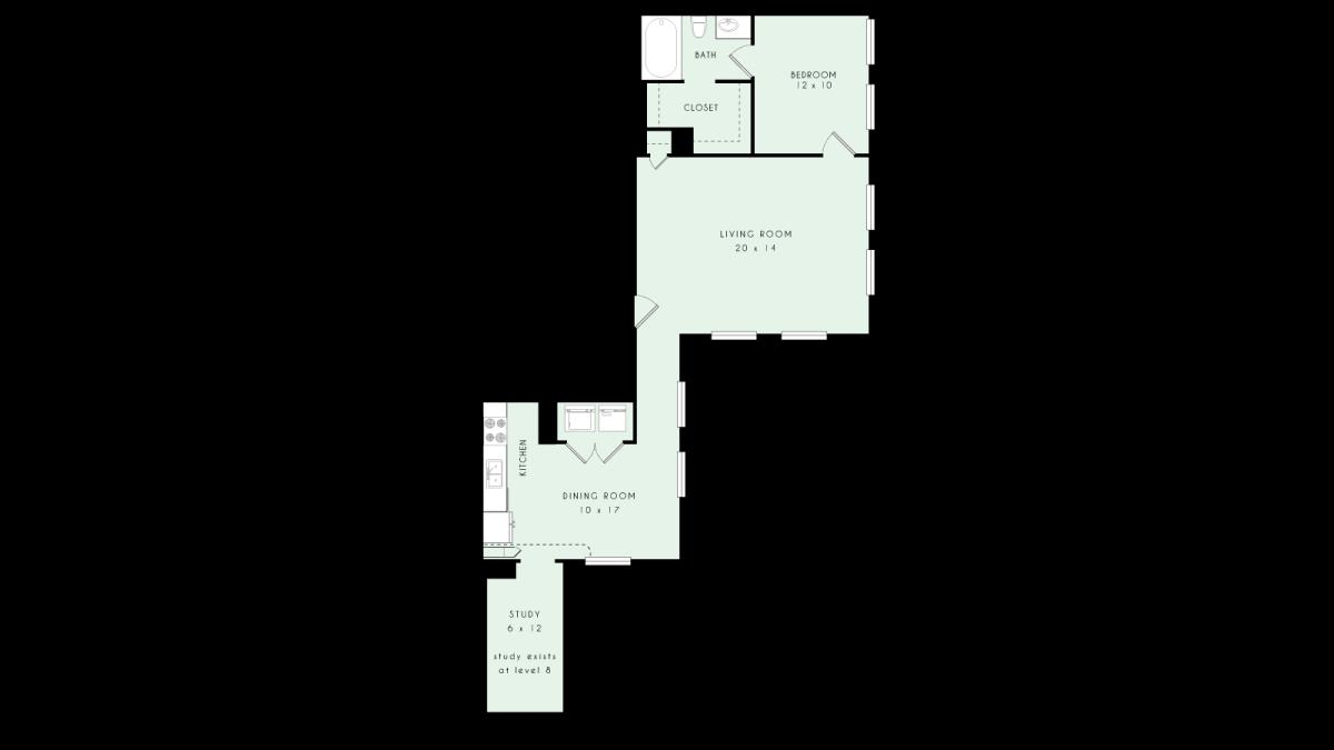 889 sq. ft. A20 MKT floor plan