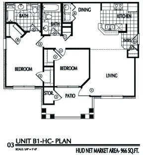 966 sq. ft. B1/60 floor plan