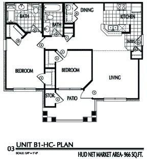 966 sq. ft. B1/60% floor plan